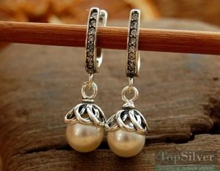 Salzburg - srebrne kolczyki z kryształem i perłą