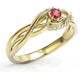Pierścionek z żółtego złota z rubinem i cyrkoniami bp-71z-rubc - żółte  rubin