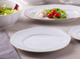 Talerz obiadowy płytki porcelana mariapaula geometria złota linia 28 cm