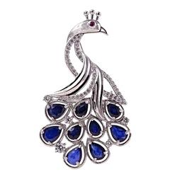 Tora; srebrna broszka, wisiorek z szafirami, paw 7,4ct