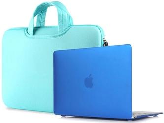 Torba pokrowiec neopren +etui hard case macbook air 13 niebieski - niebieski
