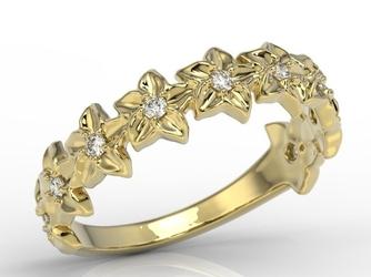 Pierścionek w formie kwiatu z żółtego złota z cyrkoniami bp-15z-c