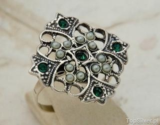 Bizz - srebrny pierścionek perły i szmaragdy