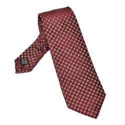 Bordowy krawat jedwabny w złoty wzór graficzny
