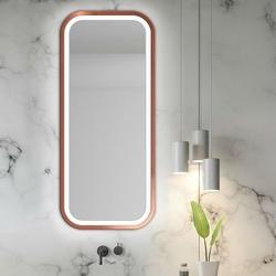 Prostokątne lustro mira light z oświetleniem led z ramą w kolorze miedzianym