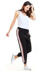 Czarno różowe joggersy damskie z lampasami