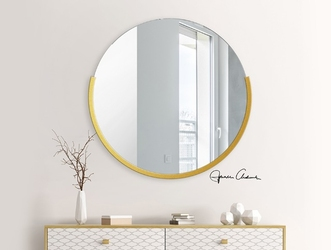 Okrągłe lustro ferni z ramą w kolorze złotym
