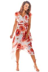 Czerwona midi sukienka kopertowa w kwiaty