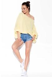 Cytrynowy sweter oversize z szerokim dekoltem