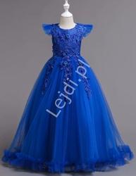 Długa koronkowa suknia wieczorowa dla dziewczynki  833, niebieska
