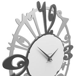 Owalny zegar ścienny michelle calleadesign aluminium  szary  biały 10-129-3