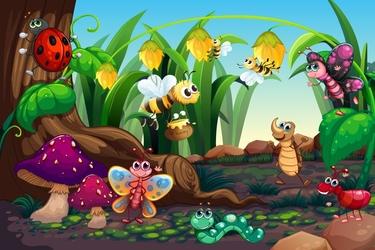 Fototapeta dla dzieci pszczółki, motylek 66a
