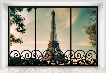 Tour eiffel paris france window - fototapeta