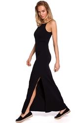 Czarna maxi dresowa sukienka na wąskich ramiączkach
