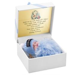 Brelok pompon niebieski z laleczką prezent z dedykacją