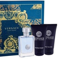 Zestaw versace pour homme perfumy męskie - woda toaletowa 50ml + balsam po goleniu 50ml + żel pod prysznic 50ml