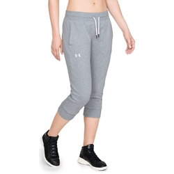 Spodnie dresowe damskie under armour slim leg fleece crop - szary