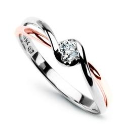 Staviori pierścionek z białego i różowego złota 0,585. 1 diament, szlif brylantowy, masa 0,10 ct., barwa g, czystość si1.