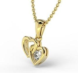 Wisiorek z żółtego złota z diamentem lpw-52z - białe  diament