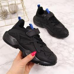 Buty sportowe chłopięce na rzep czarne american club - czarny  niebieski