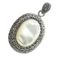 Luna owal srebrny wisiorek z markazytami
