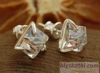 Cristal - srebrne kolczyki z kryształem swarovskie