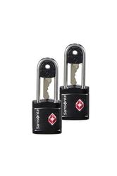 Dwie czarne kłódki zabezpieczająca na klucz z systemem tsa - black