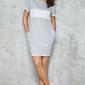 Szara dzianinowa prosta sukienka z kontrastowym panelem i lamówkami