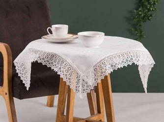 Obrus  serweta na stół altom design ecru wykończenie koronkowe 80 x 80 cm