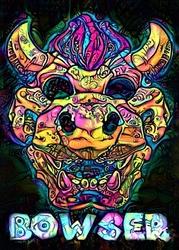 Psychoskulls, bowser, mario nintendo- plakat wymiar do wyboru: 42x59,4 cm