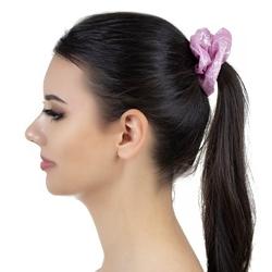Gumka do włosów jasny róż  scrunchie metaliczna
