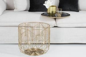 Stolik kawowy storage złoto-szary średnica 42 cm