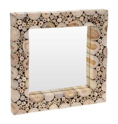 Kwadratowe lustro ścienne z drewnianą ramą moly