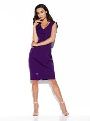 elegancka wizytowa sukienka z pionową falbanką - fioletowa