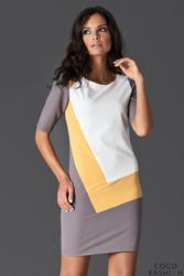 Żółta Sukienka Mini z Jasnymi Panelami