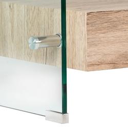 Ława do salonu alaric ze szkła giętego dwie szuflady