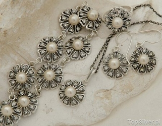 Empire - komplet z perłą i kryształkami svarovskiego