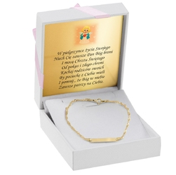 Złota bransoletka pr. 585 prezent na chrzest roczek grawer - białe z różową kokardką