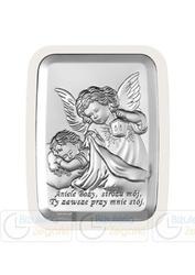 Obrazek bc64412xw anioł z latarenką 11 x 15 cm na białym drewienku