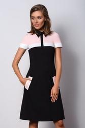 Elegancka czarna wizytowa sukienka z kołnierzykiem polo ii