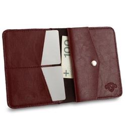 Cienki skórzany męski portfel z bilonówką solier sw15 slim bordowy - bordowy