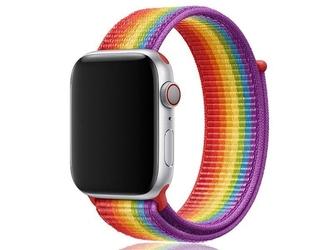 Pasek nylonowy alogy do apple watch 12345 4244mm tęczowy - wielokolorowy