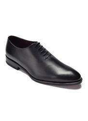 Eleganckie czarne skórzane buty męskie typu lotniki borgioli 10,5