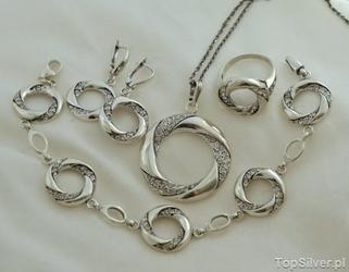 Augustyna - srebrny komplet z cyrkoniami