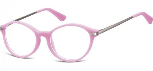 Okulary dziecięce zerówki okrągłe lenonki ak46c różowe