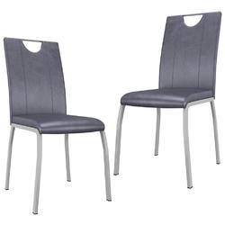 Vidaxl krzesła stołowe, 2 szt., zamszowa szarość, sztuczna skóra
