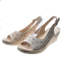 Pantofelek24.pl   sandały damskie na koturnie beige