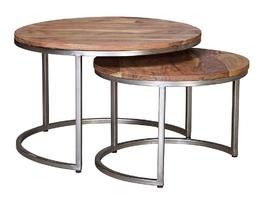 Drewniany okrągły stolik plata na metalowych nogach  zestaw 2 szt.