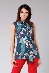 Granatowa elegancka koszula bez rękawów z wiązaną szarfą