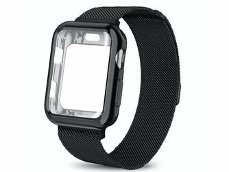 Bransoleta etui Alogy 2w1 pasek stalowy do Apple Watch 4 42mm czarna - Czarny